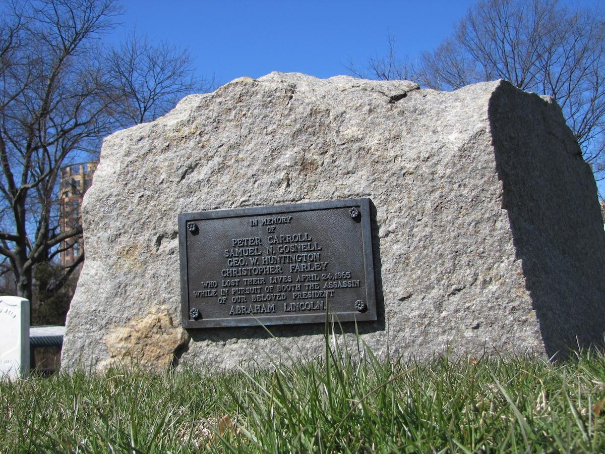 Photograph of Booth Pursuers Monument at Alexandria National Cemetery