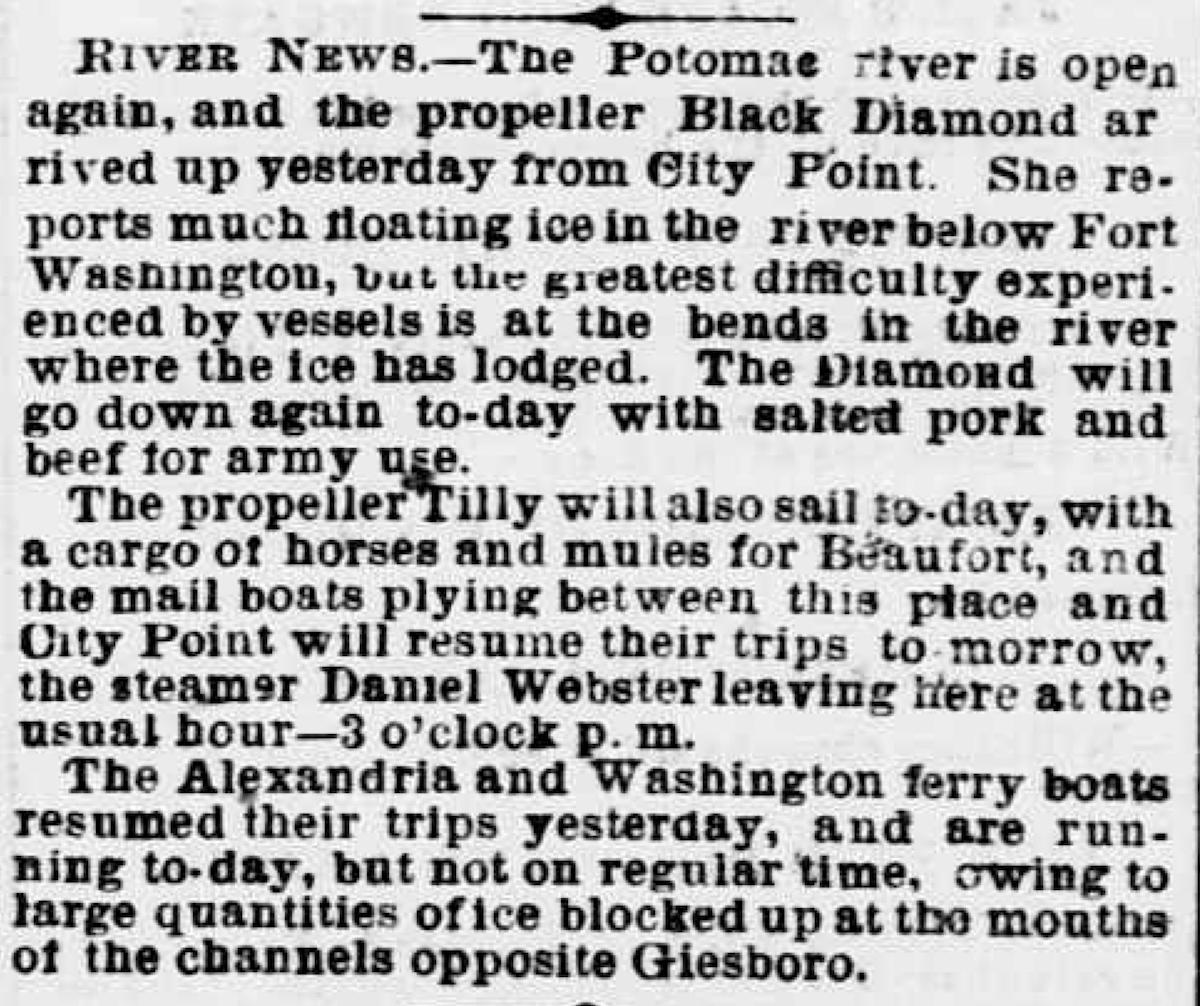 Image of newspaper article, <i>Evening Star</i>, February 20, 1865