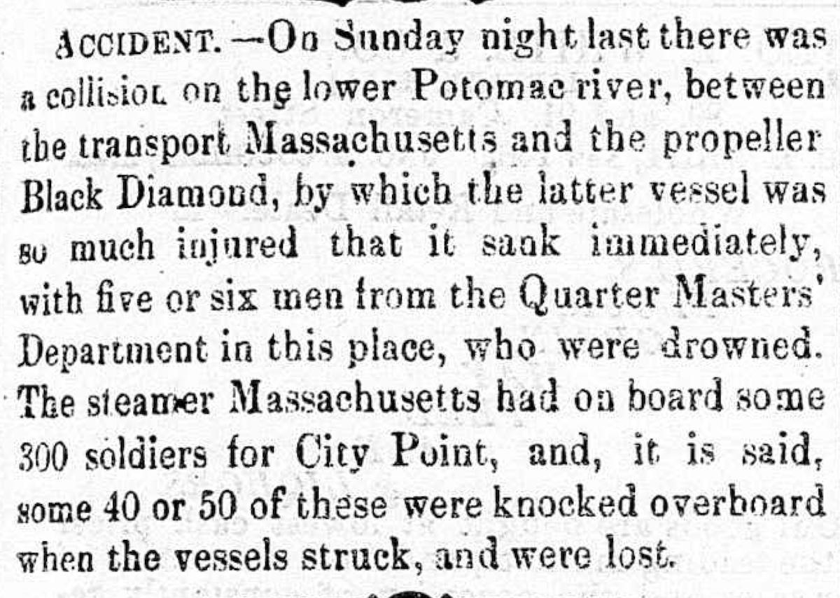 Image of newspaper article, <i>Alexandria Gazette</i>, April 26, 1865