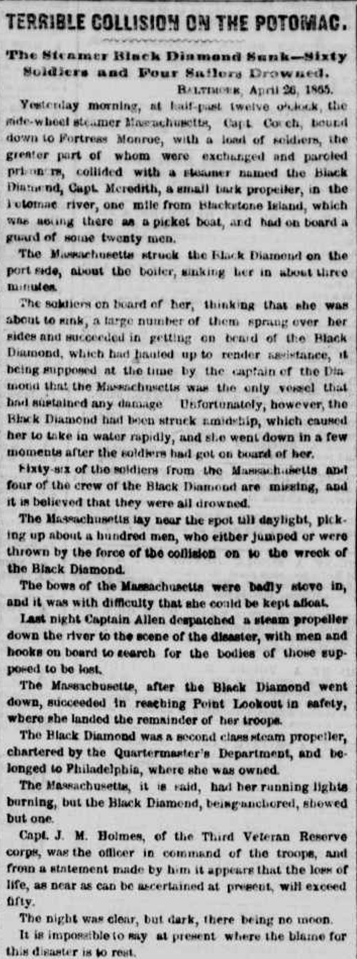 Image of newspaper article, <i>The New York Herald</i>, April 27, 1865