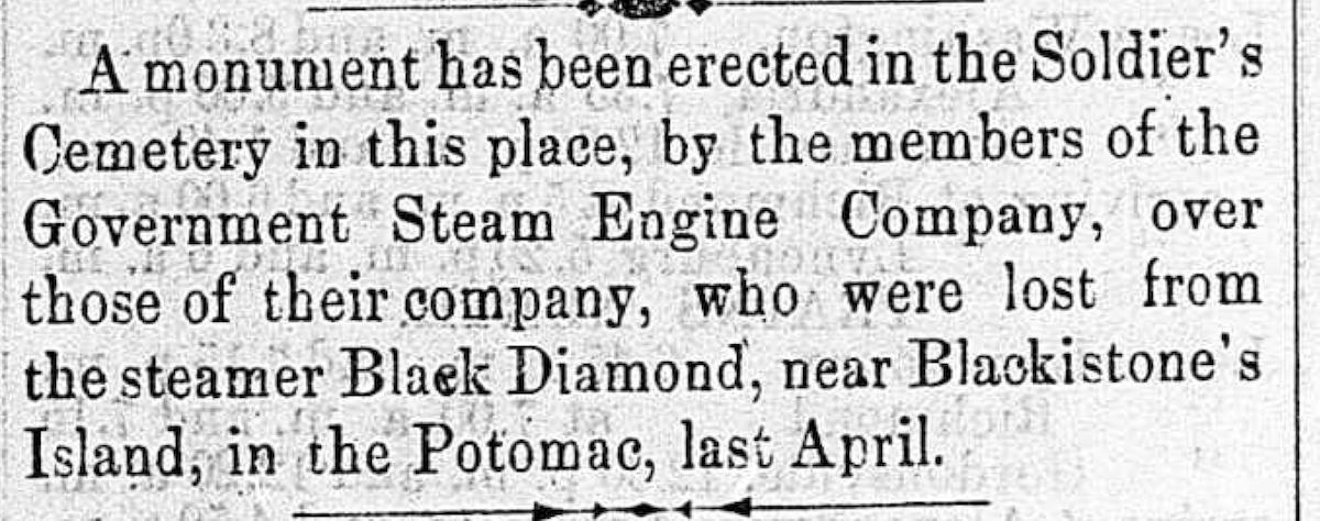 Image of newspaper article, <i>Alexandria Gazette</i>, November 11, 1865