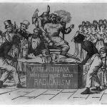 "Anti-Reconstruction wood engraving, ""Murder of Louisiana sacrificed at the altar of radicalism."""